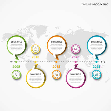 Time line info graphic with dialog bubbles in colorful design vector eps 10 Ilustração