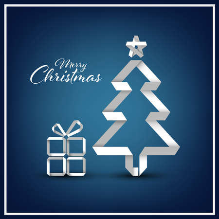 Christmas card with folded paper tree in white blue design vector eps 10