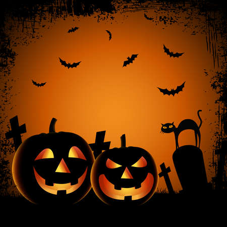 Halloween ghostly poster with pumpkins in cemetery template vector