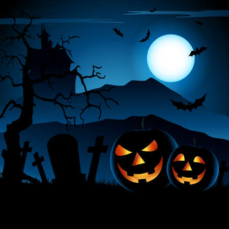 Halloween blue night poster with grinning pumpkins template vector