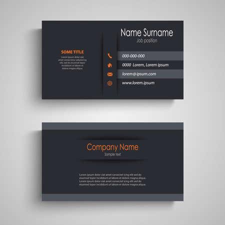 Business card in dark design with stripes template vector eps 10 Ilustração