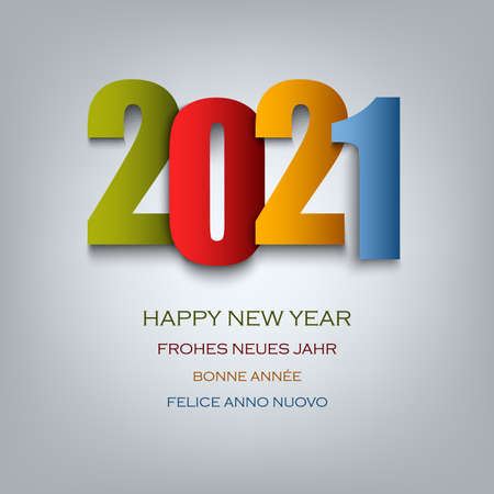 New Year card with colored numbers template vector eps 10