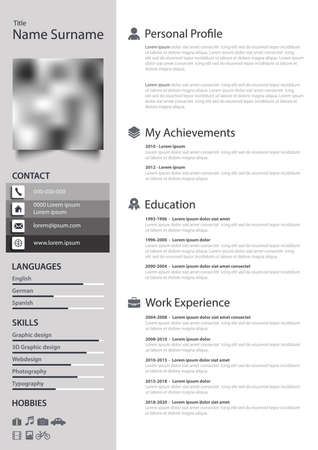 Professional personal resume cv with stripes in white gray design vector eps 10 Vetores