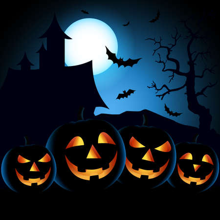 Halloween poster with scary pumpkins in blue black design vector