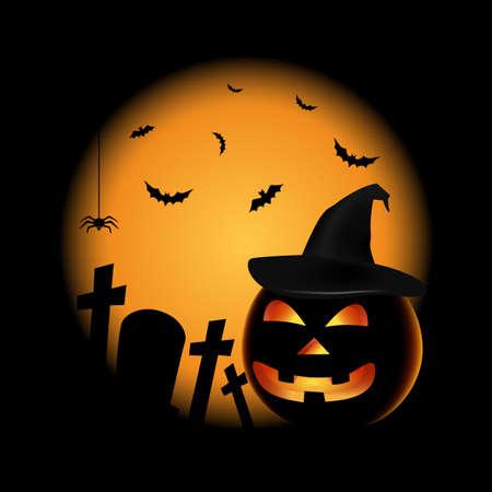Halloween poster with pumpkin and hat in black orange design vector eps 10