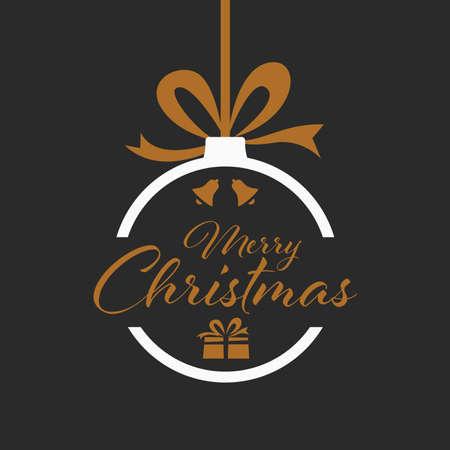 Christmas card with hanging sphere in dark design vector eps 10 Ilustração