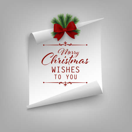 Christmas card with curved paper and ribbon template