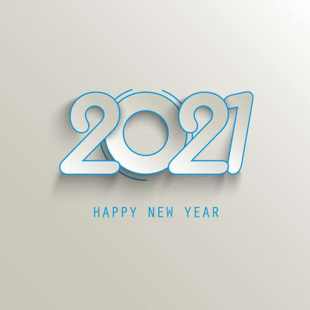 New Year background with abstract numbers in blue beige design vector eps 10