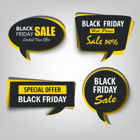 Black friday sale tags stikers in shape of dialog bubble vector eps 10 Vettoriali