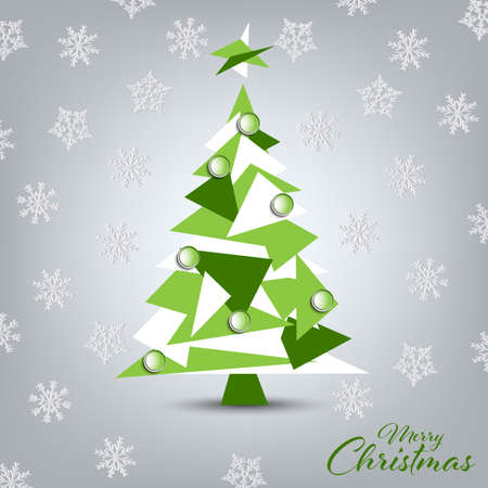 Christmas card with green white tree in triangular design vector