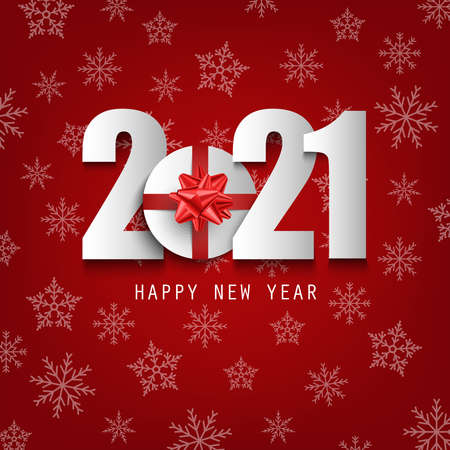 New Year background with white numbers and red bows template vector eps 10