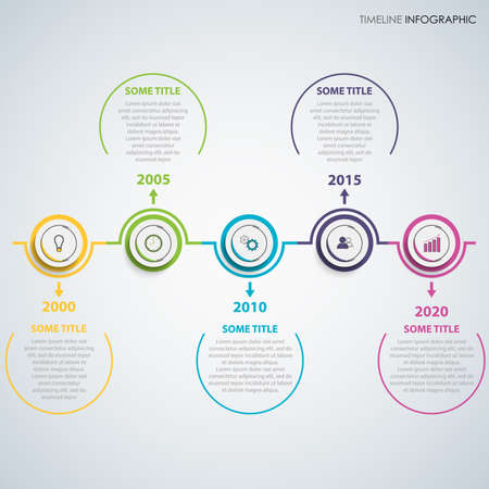 Time line info graphic with abstract design round pointers vector eps 10 Ilustração