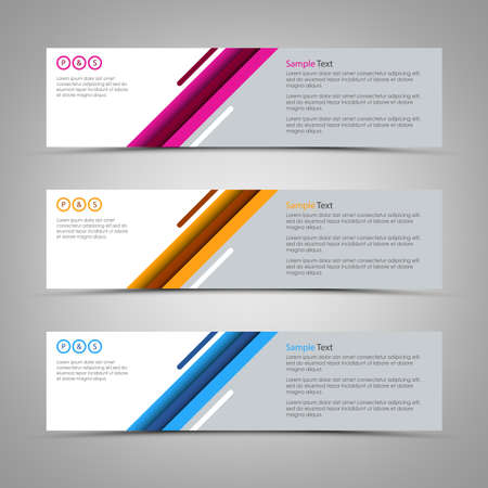 Collection of abstract colorful banners with design stripes vector eps 10
