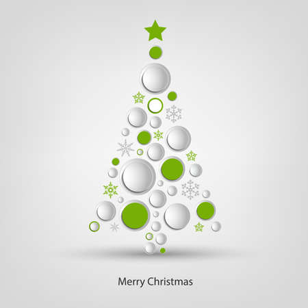 Christmas card with abstract tree circles and snowflakes design vector eps 10