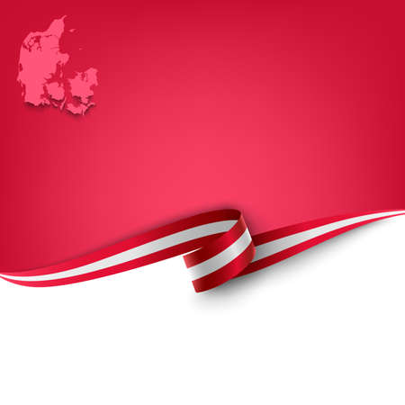 Document with ribbon and map the Kingdom of Denmark template vector eps 10