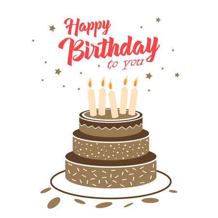 Birthday card with chocolate cake and stars template vector eps 10 Ilustração Vetorial