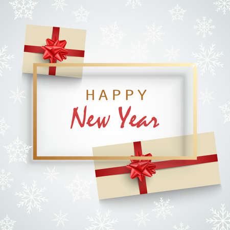 New Year card with gifts and frame on snowy background vector eps 10