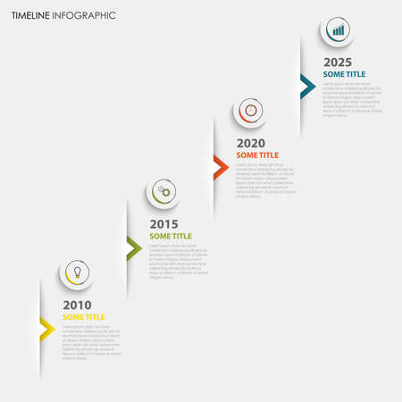 Time line info graphic with colored pointers in pocket template vector eps 10