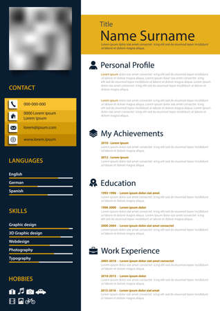 Professional personal resume cv with stripes in blue yellow white design vector eps 10 Çizim