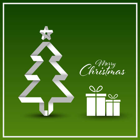 Christmas card with folded tree in white green design vector