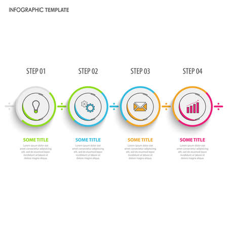 Info graphic with colorful round design pointers template vector eps 10