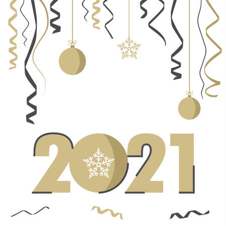 New Year background with numbers in golden white design vector Çizim