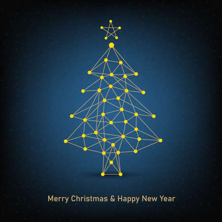 New Year and Merry Christmas background with abstract design tree vector eps 10