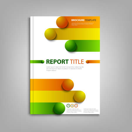 Brochures book or flyer with colored stripes and balls template vector Çizim