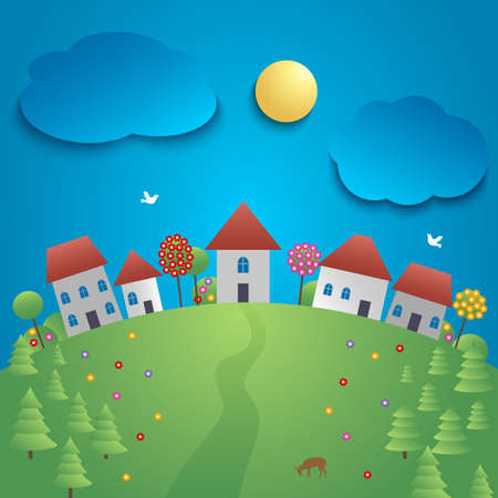 Small town with spring background template vector