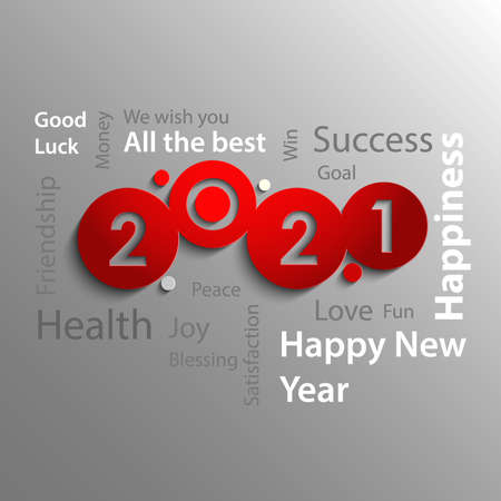 New Year card with different wishes in gray red design vector eps 10