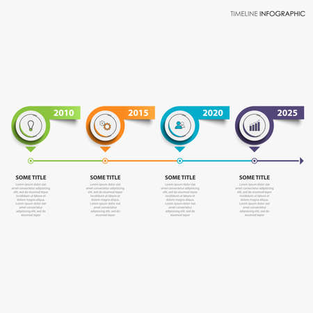 Time line info graphic with colored pointers and stickers on white background vector