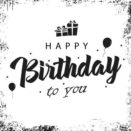 Birthday card with inscription in white black design vector