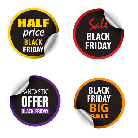 Collection of colored stickers Black friday sale template vector