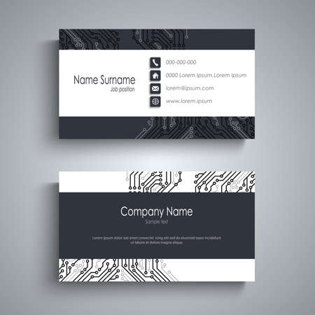 Business card with printed circuit board in white blue design vector Çizim
