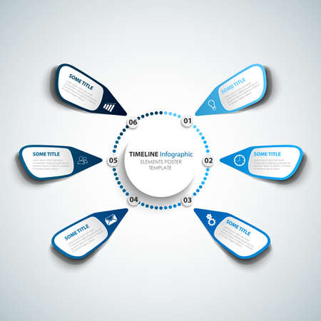 Info graphic with atypical stickers in blue design vector