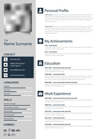Professional personal resume cv with highlight in blue white design Çizim