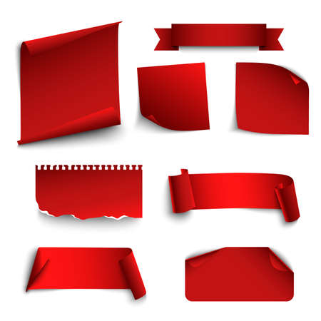 Collection of twisted papers in red design template