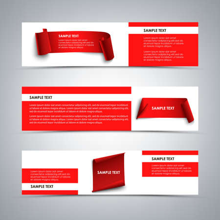 Collection of abstract banners with twisting papers in red white design