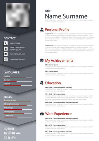 Professional personal resume cv with bookmarks in blue gray design vector