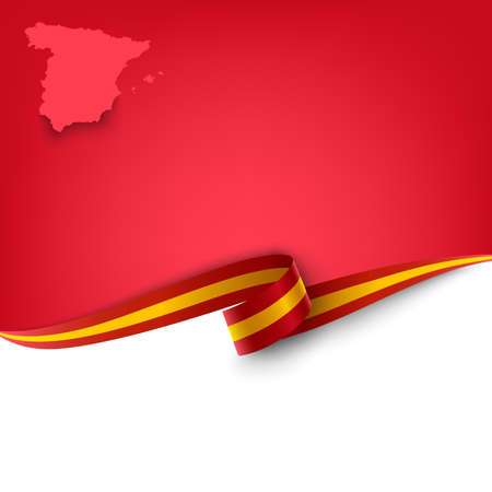Document with ribbon and map the Kingdom of Spain template vector