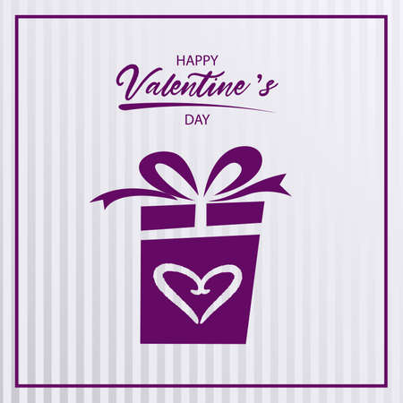 Valentine greeting card with gift in purple design vector eps 10