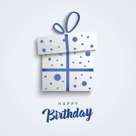 Birthday card with abstract gift in blue white design vector eps 10