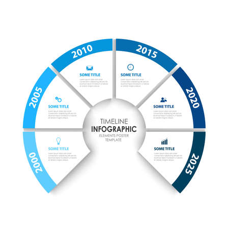 Time line info graphic with cut out pointers in white blue design vector