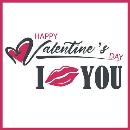 Valentine card with an inscription and mouth template vector