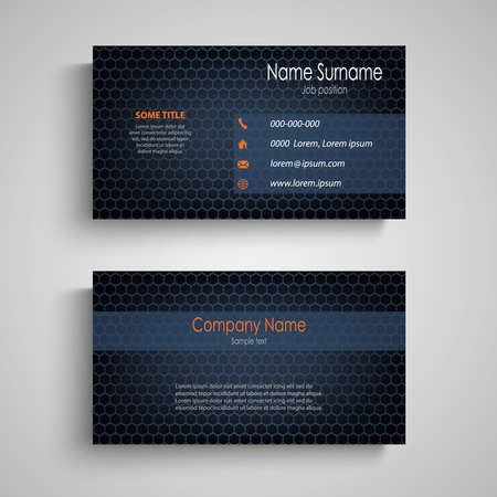 Business card with grid in blue design vector