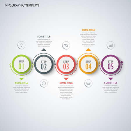 Info graphic with round indicators in color design template vector Çizim