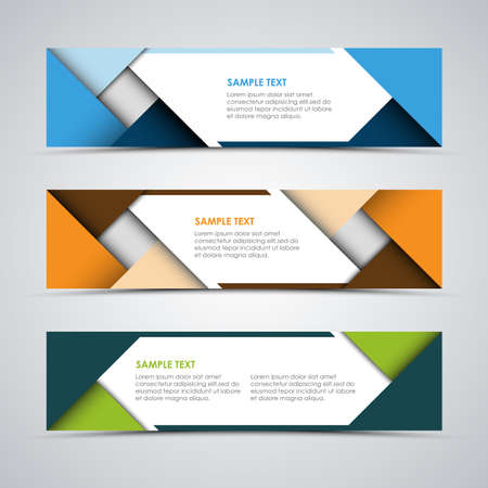 Collection of colorful abstract banners with triangles and stripes template vector