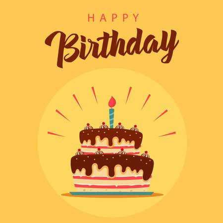 Birthday card with cake on orange background