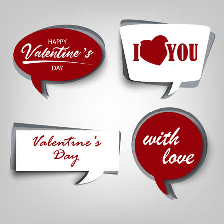 Valentine card with dialog bubbles in white red design Çizim