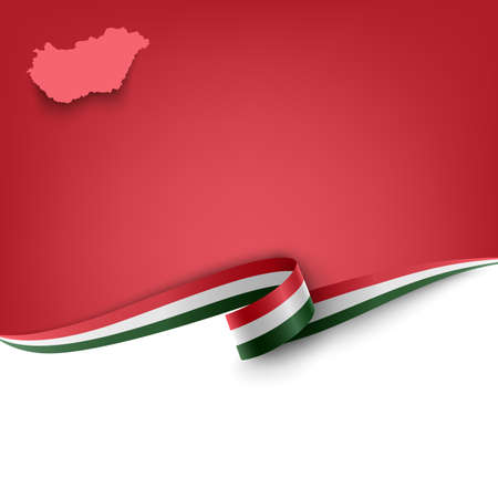 Document with ribbon and map Hungary template Çizim